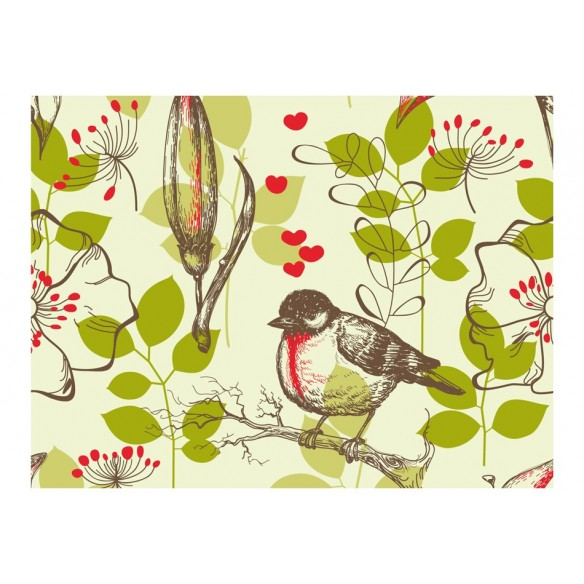 Fototapet  Bird and lilies vintage pattern