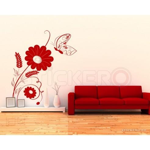 Floare delicata cu fluturas - sticker...