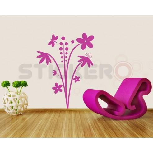 Sticker decorativ Floare cu fluturas