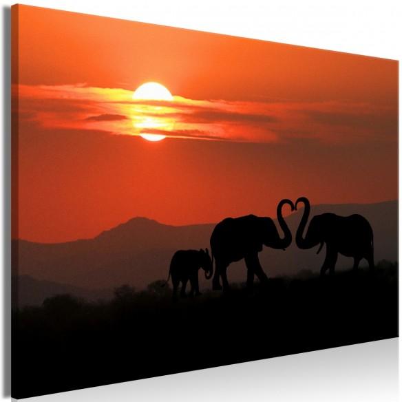 Tablou  Elephants in Love (1 Part) Wide