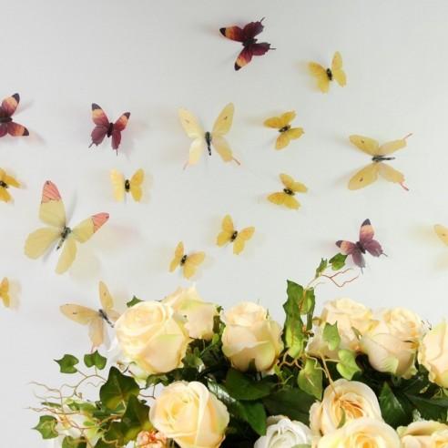 18 Fluturi 3D realisti - YELLOW AND...