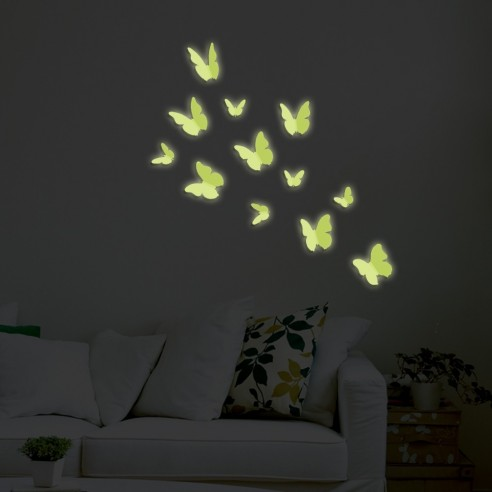 24 Fluturasi 3D Fosforescenti