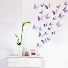 24 Fluturi 3D Violet Lavanda