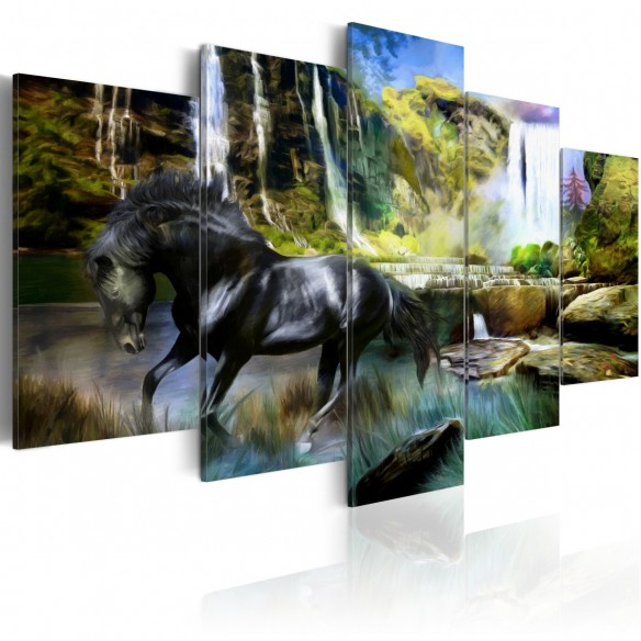 Tablou  Black horse on the background of paradise waterfall