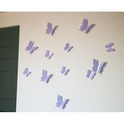 12 Fluturi 3D Violet Deschis