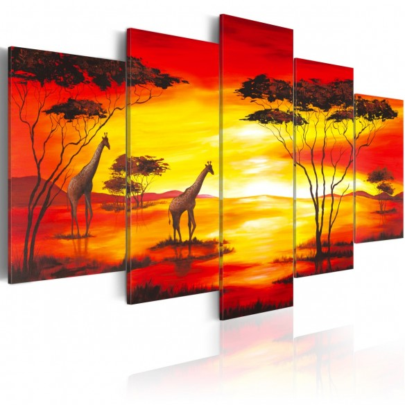 Tablou  Giraffes on the background with sunset