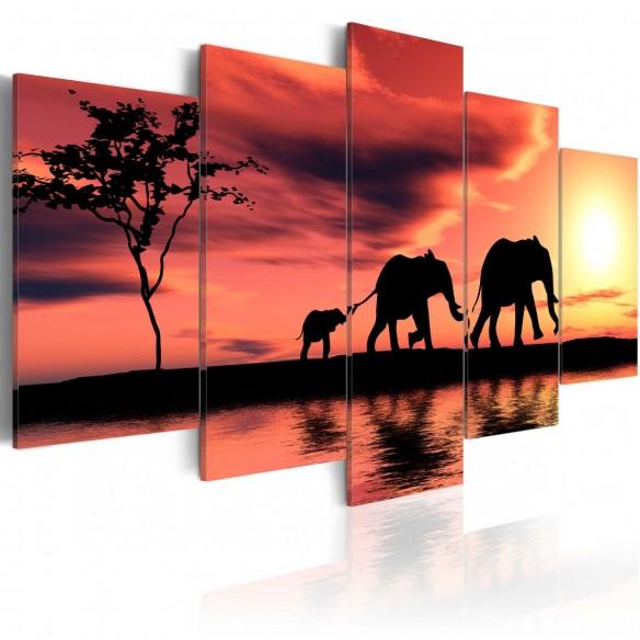 Tablou  African elephants family