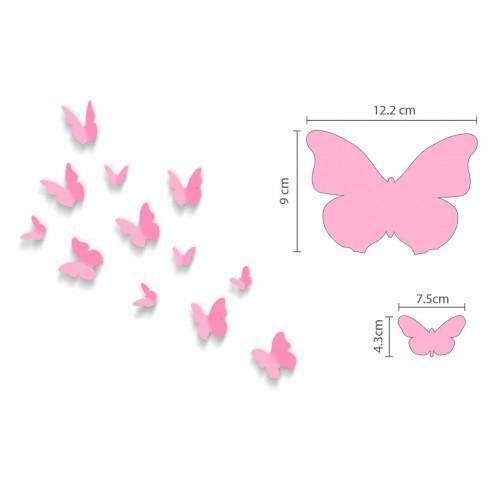 12 Fluturi 3D Roz Rotunjiti