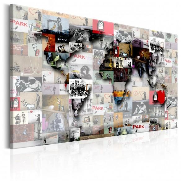 Tablou  Map Banksy inspiration