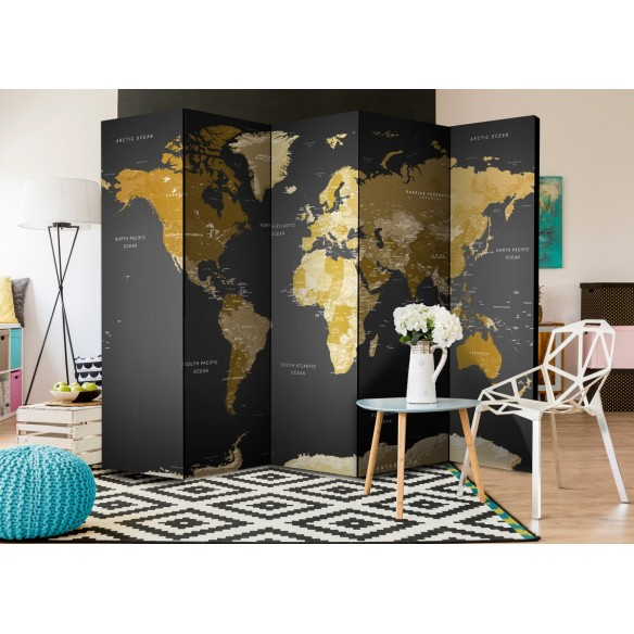 Paravan  Room divider  World map on dark background