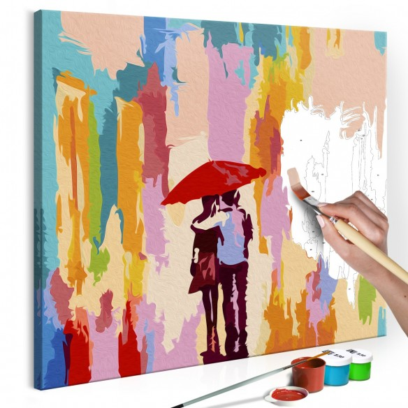 Set pictura pe numere  Couple Under An Umbrella (Pink Background)