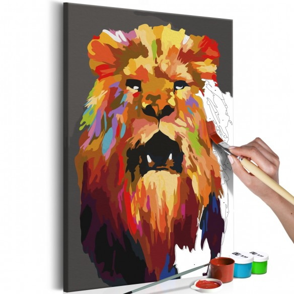 Set pictura pe numere  Colourful Lion (Large)