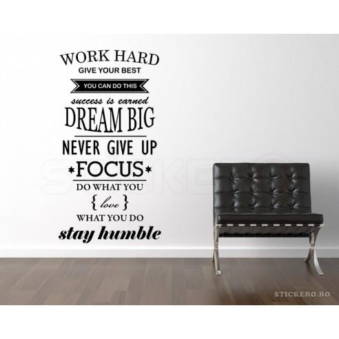Work Hard - sticker mesaj motivational