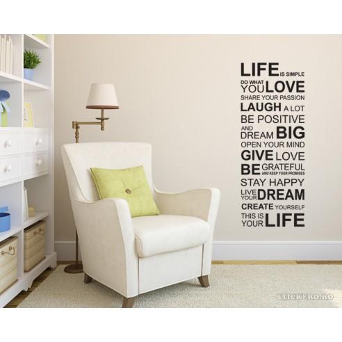Sticker decorativ Life, 68x118cm