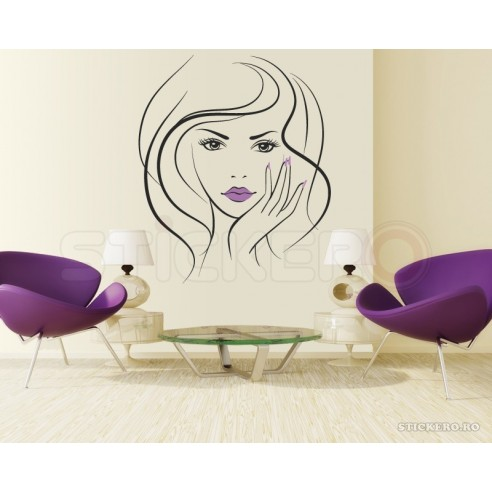 Beautiful girl face - sticker decorativ
