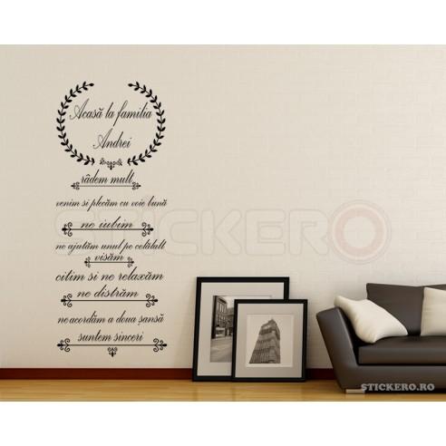 Sticker decorativ mesaj-  Acasa la noi