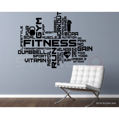 Sticker decorativ- Fitness & Gym,...