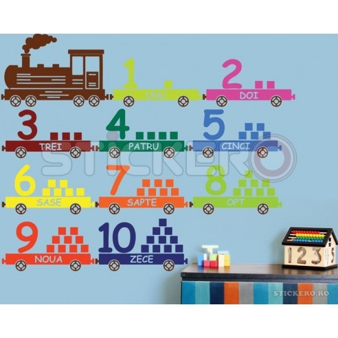 Sticker decorativ Trenuletul cu numere