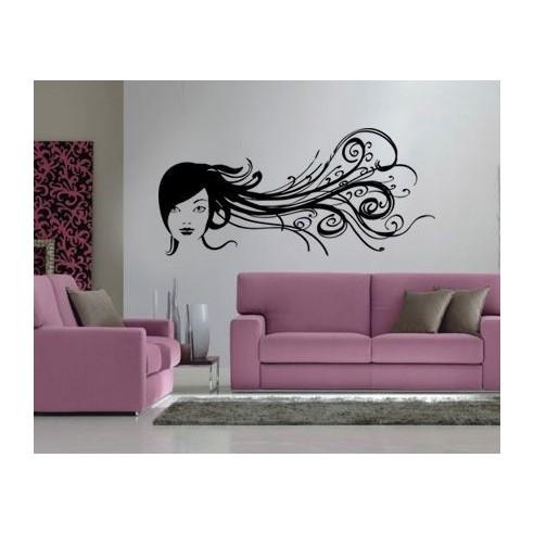 Sticker decorativ Fata cu Plete de Flori
