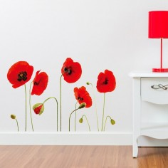 Sticker Red Poppy Flowers