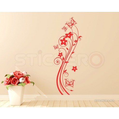 Sticker decorativ Floare cu Fluturasi
