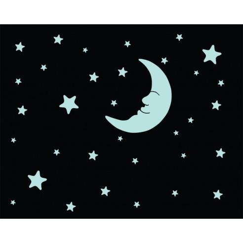 Luna si stelute - sticker fosforescent