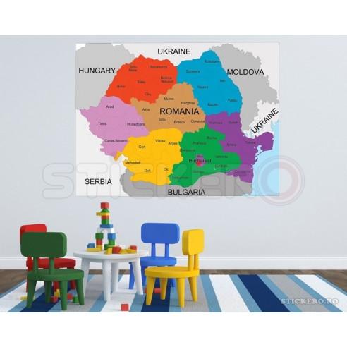 Harta Romaniei - sticker imprimat